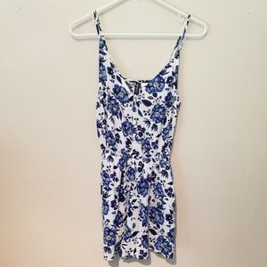 Divided Blue & White Floral Romper.